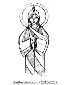 Hand drawn vector illustration or drawing of Virgin Mary at Pentecost Biblical passage