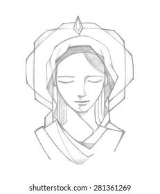 Hand drawn vector illustration or drawing of Virgin Mary at Pentecost Biblical passage