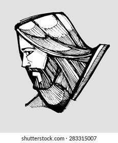 Hand drawn vector illustration or drawing of Jesus Christ facing side