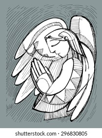 Hand drawn vector illustration or drawing of a praying Guardian Angel