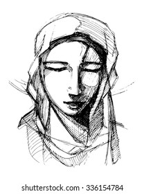 Hand drawn vector illustration or drawing of Virgin Mary praying