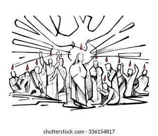 Hand drawn vector illustration or drawing of the biblical scene of Pentecost