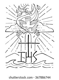 Hand drawn vector illustration or drawing of a Holy Trinity