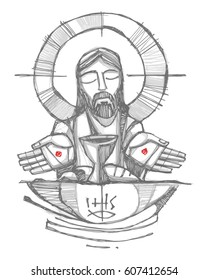 Hand drawn vector illustration or drawing of Jesus Christ with wine, bread and open hands