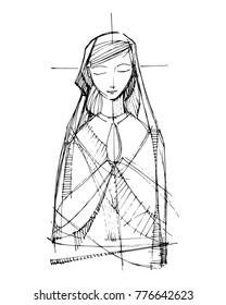 Hand drawn vector illustration or drawing of Virgin Mary praying