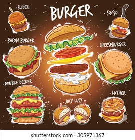 Hand drawn vector illustration of eight popular Burger varieties, including Hamburger, Cheeseburger, Bacon Burger, Double Decker Burger, Slider Burger, Luther Burger, 50/50 Burger, Juicy Lucy Burger.