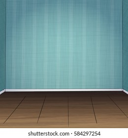 Hand drawn vector illustration of empty room. Blue striped walls and wooden brown floor.