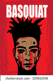 A hand drawn vector illustration of the famous graffiti artist, Jean Michel Basquiat.