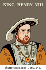A hand drawn vector illustration of the famous Tudor, King Henry VIII.