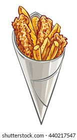 Hand drawn vector illustration of Fish and Chips in cone paper.