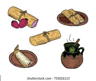 Hand drawn vector illustration of five Tamales dishes, incluiding Tamal Dulce, Tamales con Frijoles, Tamal de Elote, Tamal Rojo and Atole.