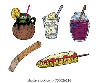 Hand drawn vector illustration of five Mexican street food dishes, incluiding Fresca, Esquites, Agua de Jamaica, Churro and Elote.