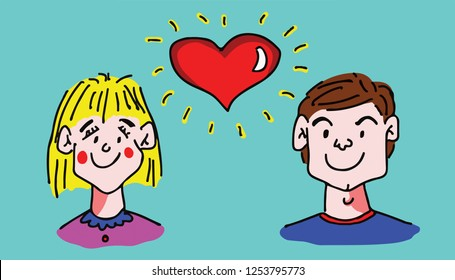 Hand drawn vector illustration of a floating red heart between a girl and boy for the concept: Falling in love.