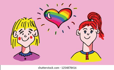 Hand drawn vector illustration of a floating rainbow heart between two woman for the concept: same-sex marriage.