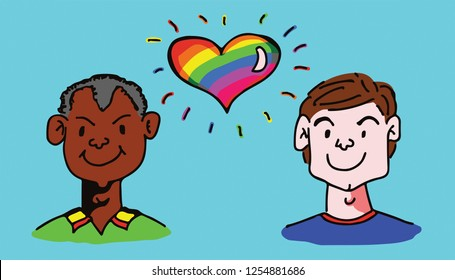 Hand drawn vector illustration of a floating rainbow heart between two man for the concept: gay marriage.