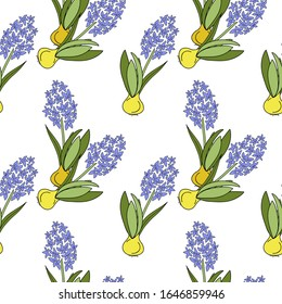 Hand drawn vector illustration floral seamless pattern with blue flowers  hyacinth with bulb on white background. Floral design for textile, wallpaper, wrapping, greeting card, scrapbooking, wedding