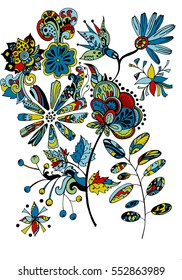 Hand drawn vector illustration with floral elements for your design. Coloring book page.