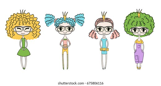 Hand drawn vector illustration of four kawaii trendy girls with curly hair, in cute dresses, t-shirt, leggings, shorts,  and denim overalls. Isolated objects on white background. Design concept kids.