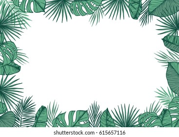 Hand drawn vector illustration - frame with Palm leaves and aloha lettering. Tropical design elements. Perfect for prints, posters, invitations etc