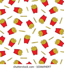 Hand drawn vector illustration of french fried potatoes in paper box pattern on white background.Abstract wallpaper.