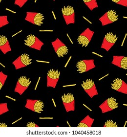 Hand drawn vector illustration of french fried potatoes in red paper box pattern on black background.Fast food.