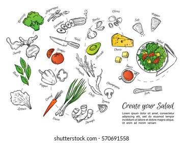 Hand drawn vector illustration of fresh side dish with vegetables, cheese, seafood etc. Create your salad. Perfect for restaurant brochure, cafe flyer, delivery menu.
