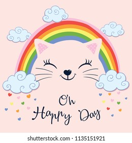 Hand drawn vector illustration funny  cat under the rainbow. Design concept for children print.