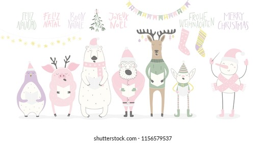 Hand drawn vector illustration of a funny singing Santa, elf, animals, with quote Merry Christmas in different languages. Isolated objects on white background. Flat style design. Concept card, invite.