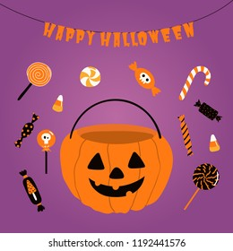 Hand drawn vector illustration of a funny pumpkin candy bag, with text Happy Halloween. Isolated objects. Scandinavian style flat design. Concept for children print, party invitation.