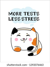 Hand drawn vector illustration of a funny cat and IT QA joke