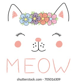 Hand drawn vector illustration of a funny cat girl face in a flower chain, with text Meow. Isolated objects on white background. Design concept for children.