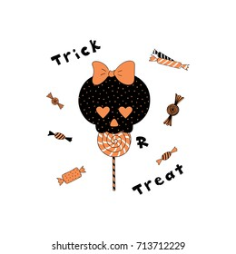 Hand drawn vector illustration of a funny cartoon skull with heart shaped eyes, eating lollipop, with candy and text Trick or Treat. Isolated objects on white background. Design concept Halloween.