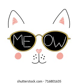 Hand drawn vector illustration of a funny cat face in sunglasses, with text Meow written inside the lenses. Isolated objects on white background. Design concept for children.