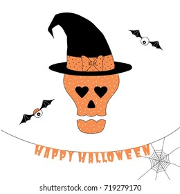 Hand drawn vector illustration of a funny cartoon skull with heart shaped eyes, in a witch hat with a bow, with hanging text Happy Halloween. Isolated objects on white background. Design concept kids.