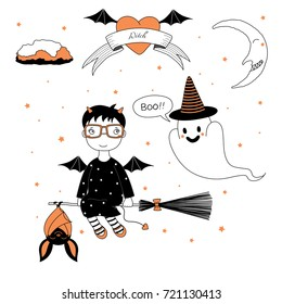 Hand drawn vector illustration of a funny cute cartoon witch girl, flying on a broomstick with a bat, and ghost in striped hat, text on a ribbon, heart, moon and stars. Design concept kids, Halloween.