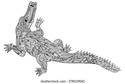 b5ff083e9 Hand drawn vector illustration with geometric and floral elements. Original  hand drawn crocodile.