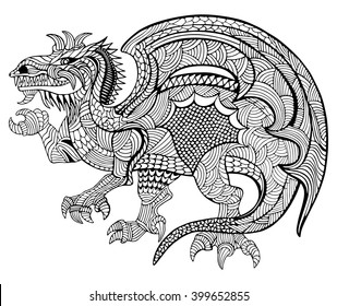 Hand drawn vector illustration with geometric and floral elements. Original hand drawn Dragon.