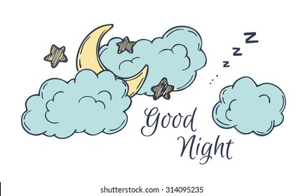 Hand drawn vector illustration - good night, card with moon and clouds