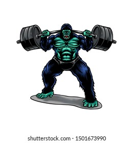 Hand drawn Vector Illustration Gorilla Weightlifting