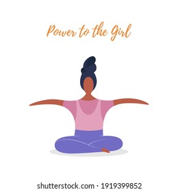 Hand drawn vector illustration of happy sitting woman, with quote Power to the girls. Concept, element for feminism, womens day card, poster, banner, postcard. Isolated objects on a white background
