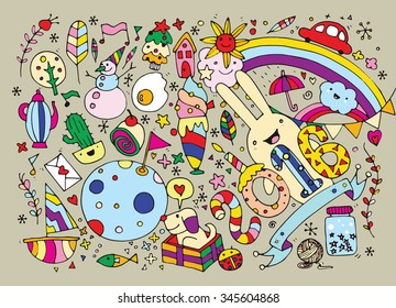 Hand Drawn Vector Illustration of happy new year. holiday background with funny party