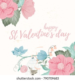 Hand drawn vector illustration of herbs and flowers. Retro card of spring elements on light background can be used for invitation, banner template, flyer, sale, website, cover. Art concept.