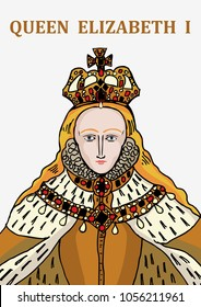 A hand drawn vector illustration of the historically famous Tudor, Queen Elizabeth I.