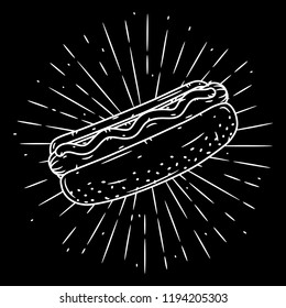 Hand drawn vector illustration with hot dog and divergent rays. Used for poster, banner, web, t-shirt print, bag print, badges, flyer, logo design and more.