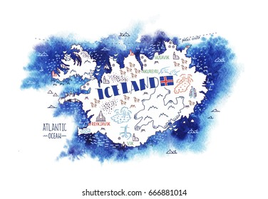 Hand drawn vector illustration. Iceland map with watercolor background.