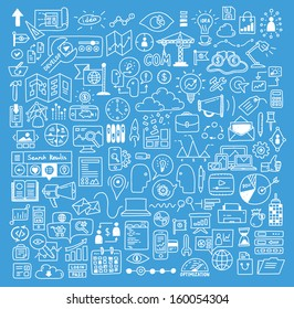 Hand drawn vector illustration icons set of business strategy, brainstorming and website development doodles elements. Isolated on bright blue background.