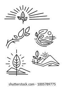Hand drawn vector illustration or ink drawing of some vector nsture symbols or logos