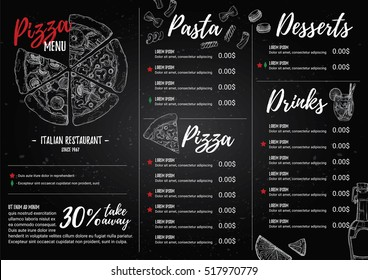 Hand drawn vector illustration - Italian menu. Pasta and Pizza. Perfect for restaurant brochure, cafe flyer, delivery leaflet. Design template with illustrations in sketch style.