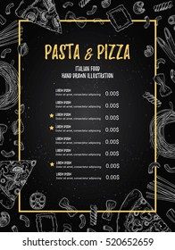 Hand drawn vector illustration - Italian menu. Pasta and Pizza. Perfect for restaurant brochure, cafe flyer, delivery booklet. Design template with illustrations in sketch style.