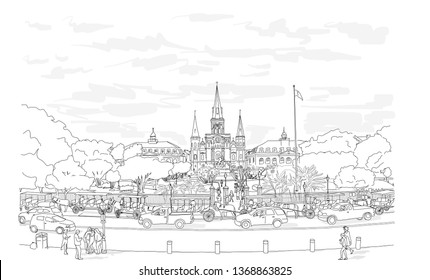 Hand drawn vector illustration. Jackson Square in the French Quarter in New Orleans on a busy day, with the St. Louis Cathedral rising above the beautiful park.